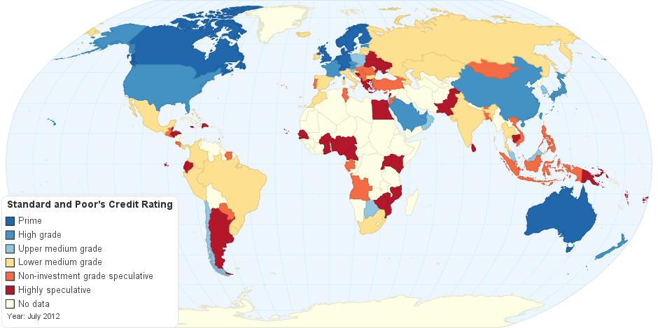 Standard & Poor's Credit Rating for each country