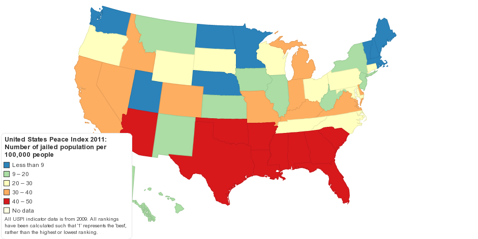 United States Peace Index 2011: Jailed Population Ranking