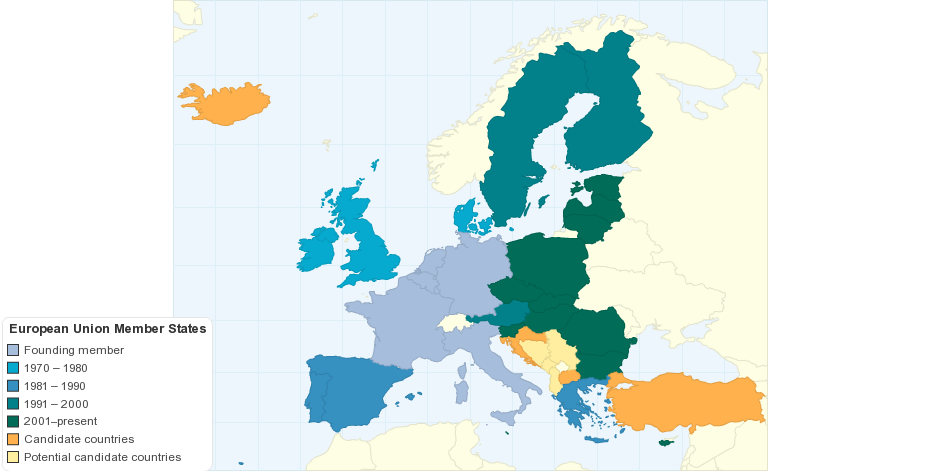 Map of European Union Member States
