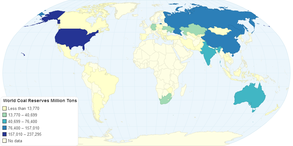Coal World Map.World Coal Reserves Million Tons