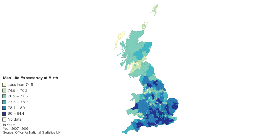 Men - Life Expectancy at Birth by UK Local Authority