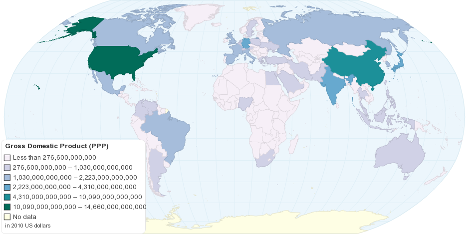 Current Worldwide Gross Domestic Product (Purchasing Power Parity)