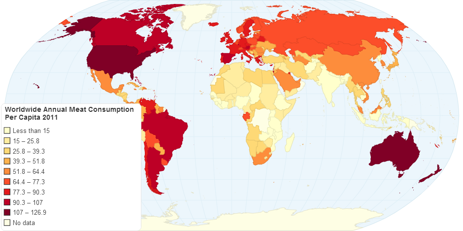Worldwide Annual Meat Consumption Per Capita 2011