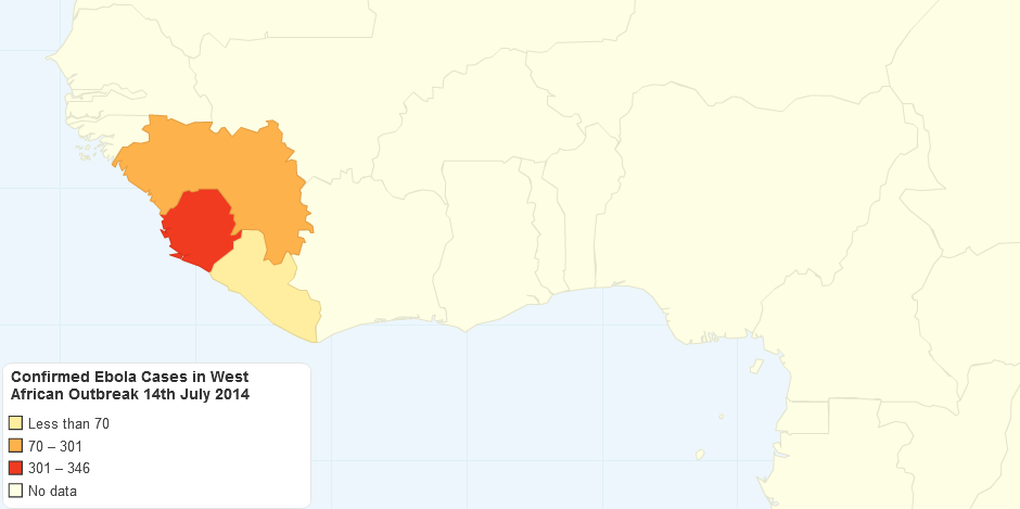 Confirmed Ebola Cases in West African Outbreak 14th July 2014