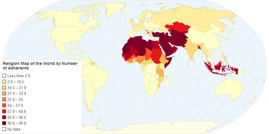Islam Adherents by country