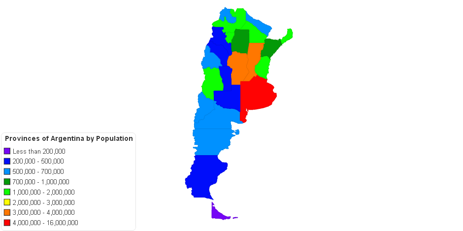 Provinces Of Argentina By Population - Argentina map provinces