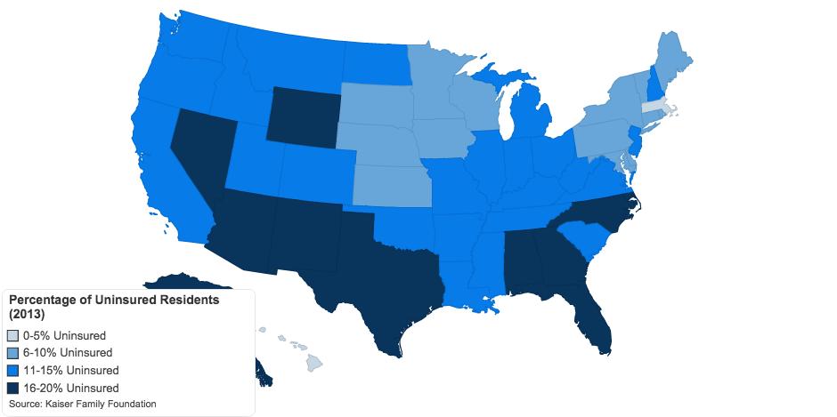 Percentage of Uninsured Americans 2013