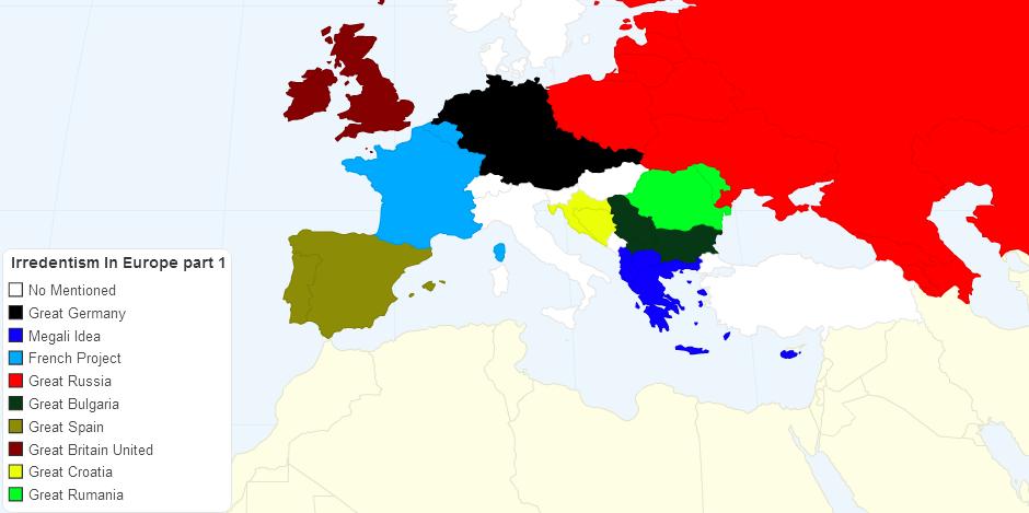 Irredentism in Europe Part 1 (world map version)