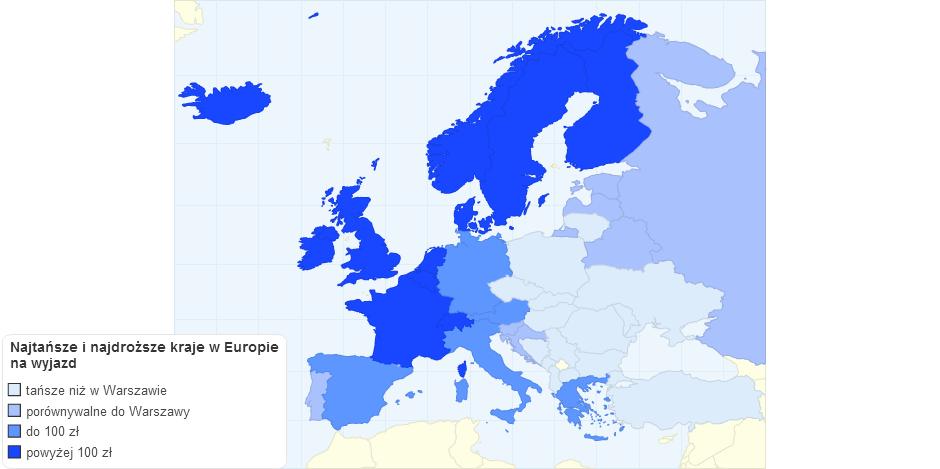 Najtańsze i najdroższe kraje w europie na wyjazd