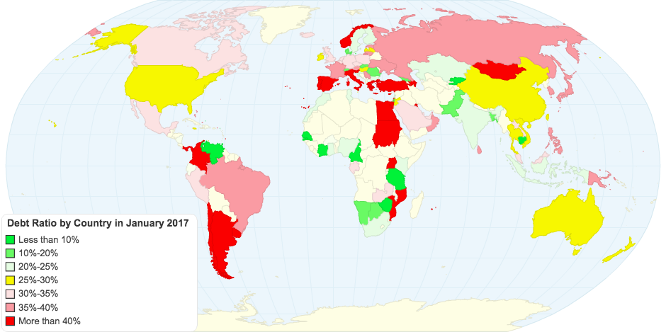 Debt Ratio by Country in January 2017