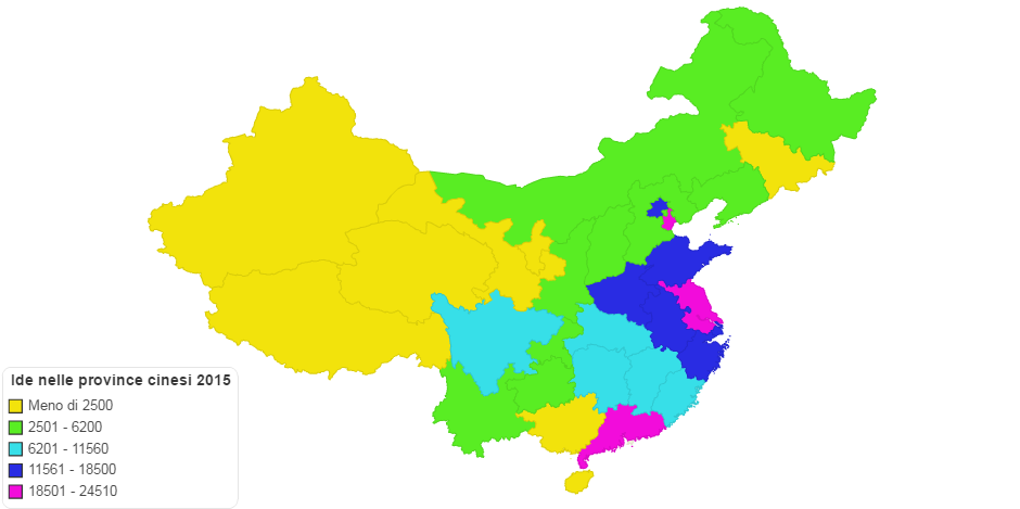 Fdi Utilized China provinces 2015