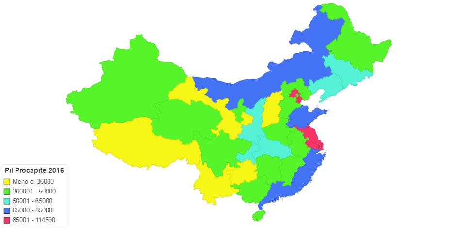 Pil Procapite 2016 Province cinesi