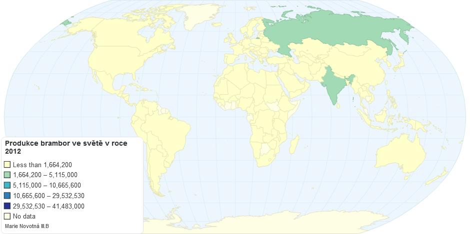 Produkce brambor ve světě v roce 2012