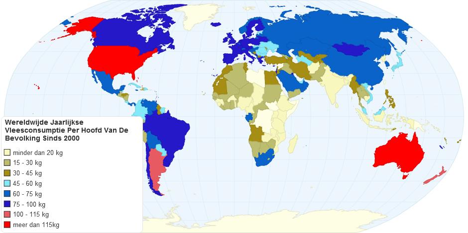 Wereldwijde jaarlijkse vleesconsumptie per persoon sinds 2000