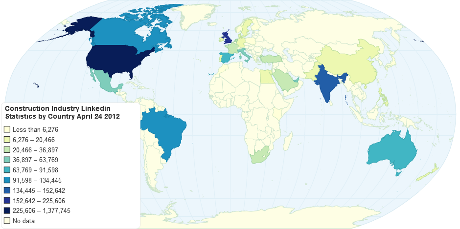 Construction Industry Linkedin Statistics by Country April 24 2012
