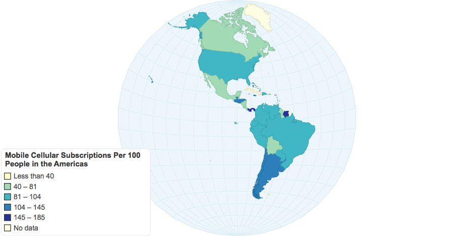 Mobile Cellular Subscriptions Per 100 People in the Americas