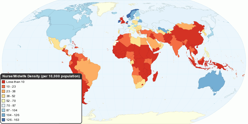 Global Distribution of Nurse/Midwife per 10,000 population