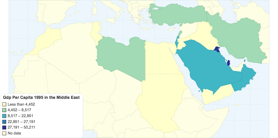 GDP Per Capita 1995 in the Middle East