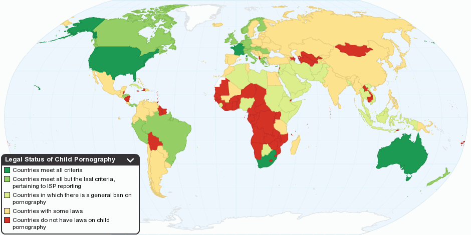Legal Status of Child Pornography by Country