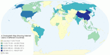 A Chrolopleth Map Showing Internet Users in Different Countries