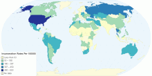 Incarceration Rates Per 100,000 (indicative only)