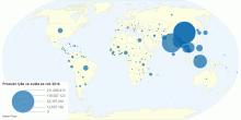 Produkce rýže ve světě za rok 2016